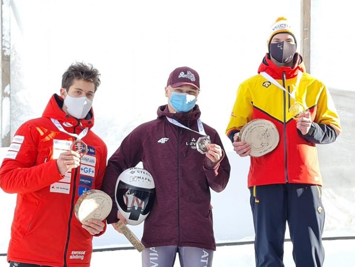 Skeletonists Veinbergs junioru čempionātā U-20 klasē izcīna sudraba medaļu