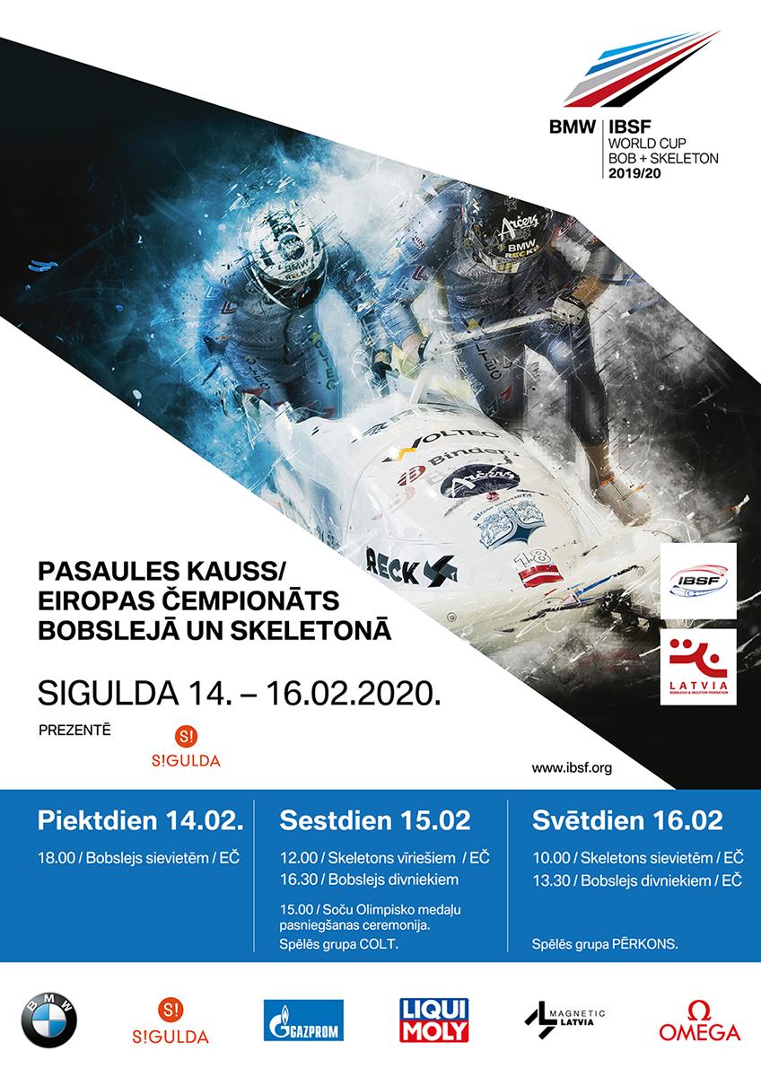 Pasaules kauss un Eiropas čempionāts Siguldā jau 14.februārī
